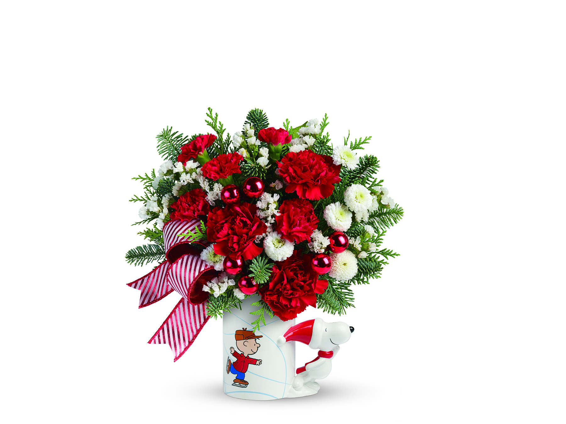 NEW Peanuts Christmas Mug Bouquet by Teleflora