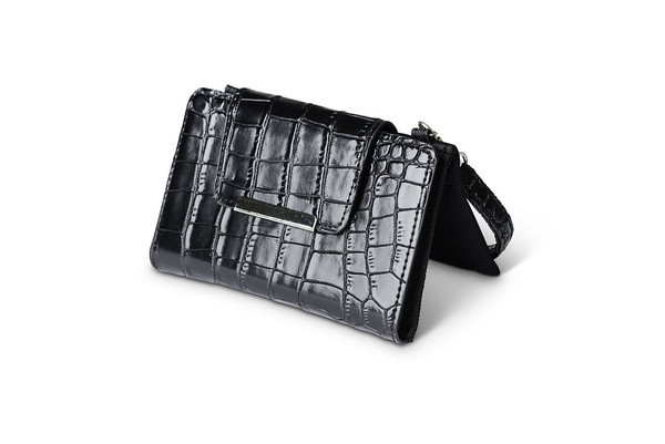 buddy crocodile clutch-black