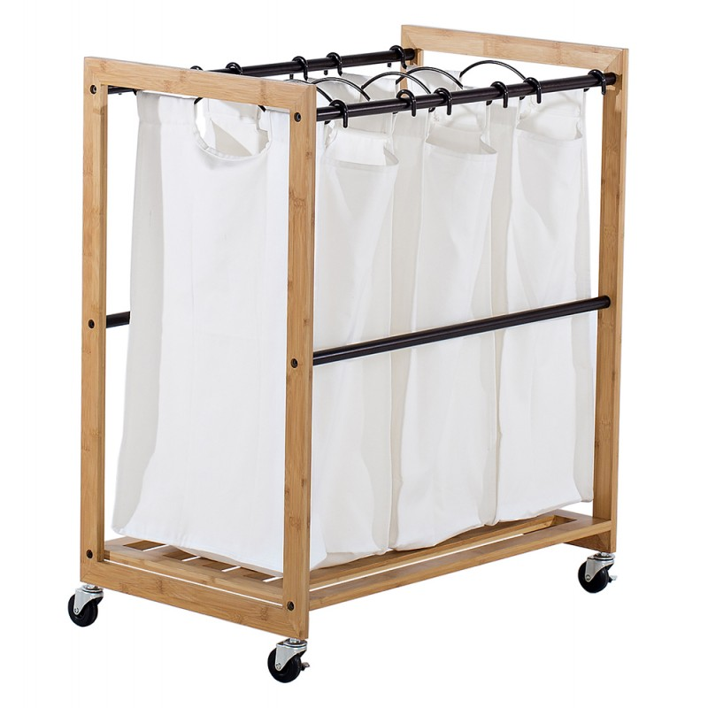 Organize Your Laundry Room With TRINITY EcoStorage™ 3 Bag Bamboo Laundry  Cart