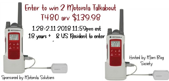 Enter to win 2 Motorola Talkabout T480 arv $139.98