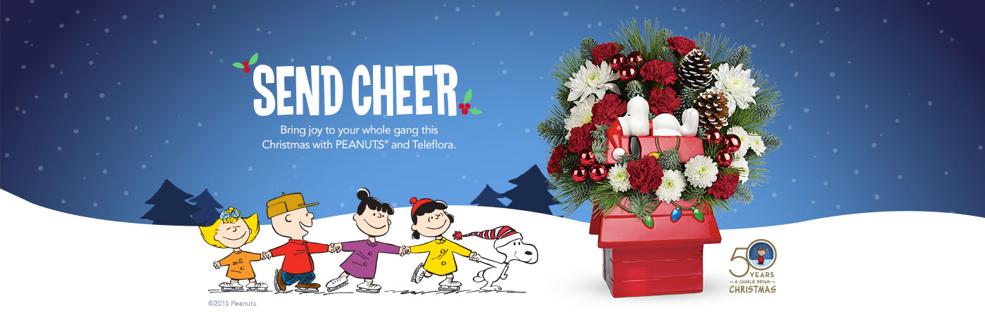 Charlie Brown Christmas 50th.Teleflora Say S Happy Holiday With A Special Arraignment