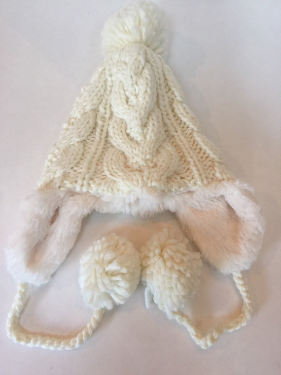 Hippy Spirit Ivory Cable Knit Trapper Hat with Pom Pom