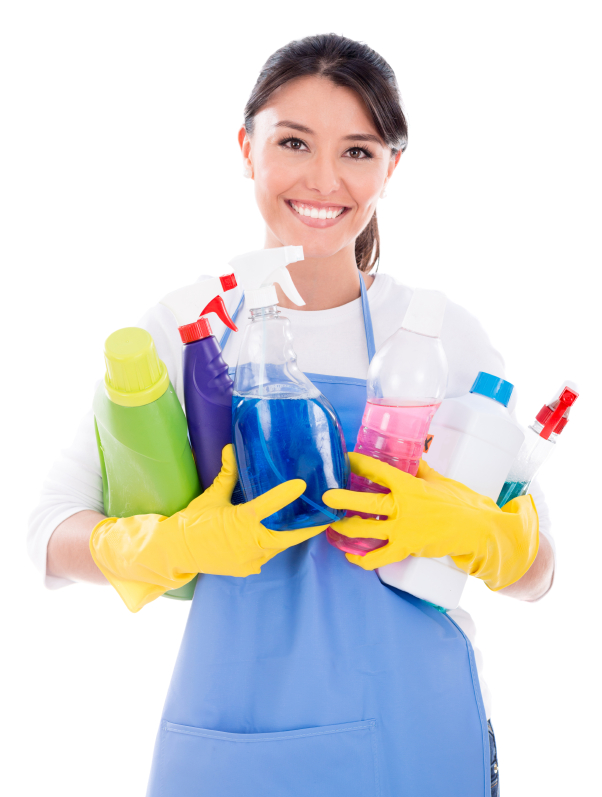 Happy housewife holding cleaning products - isolated over white