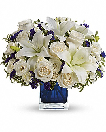 teleflora saphhire skies bouquet