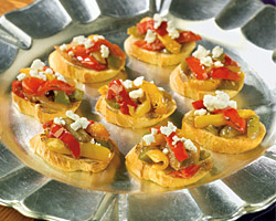 Bruschetta with Caramelized Onions and Goat Cheese- Birdseye