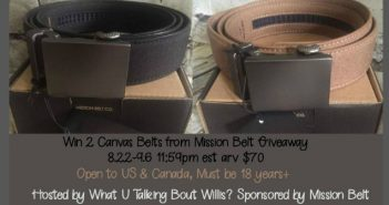 2 Canvas Belts from Mission Belt Giveaway