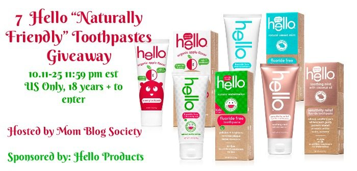 "7 Hello ""Naturally Friendly"" Toothpaste Giveaway"